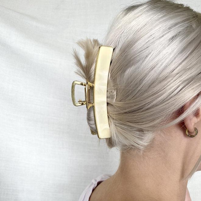 Pince à cheveux  en metal doré avec finition - Jaunâtre marbre