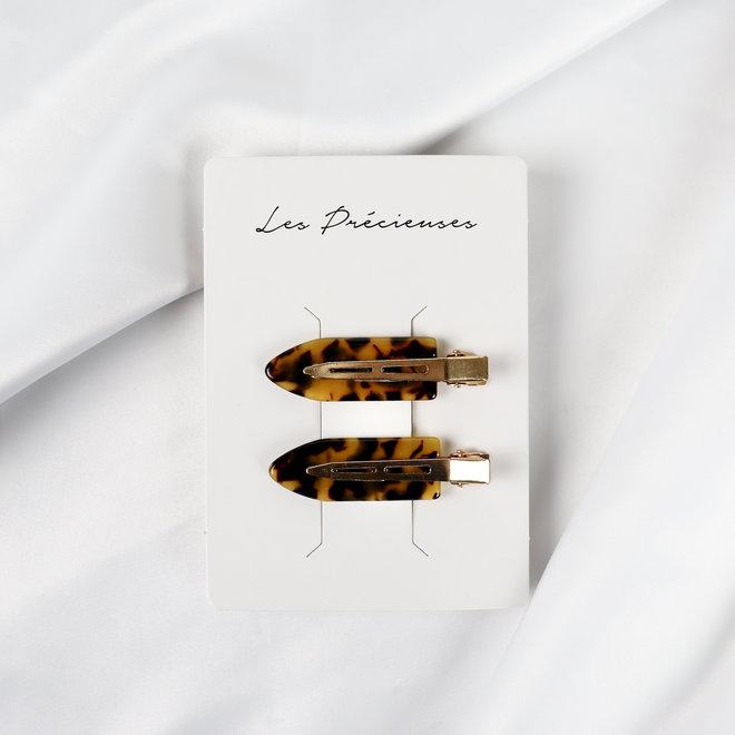 Ensemble de 2 pinces à cheveux plate - Les palettes léopard