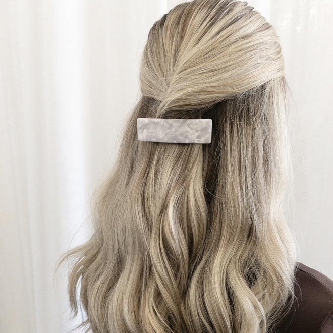 Barrette à cheveux  la voute rectangulaire - Blanc nacré