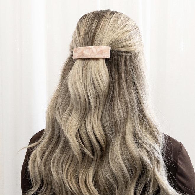 Barrette à cheveux  la voute rectangulaire - Rose nacré