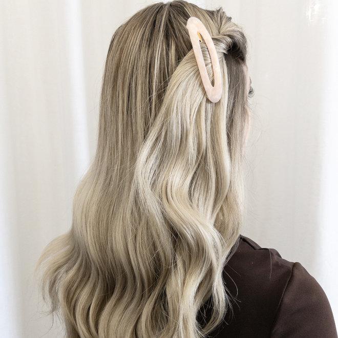 Ensemble de 2 barrettes à cheveux ovale - Rose nacré