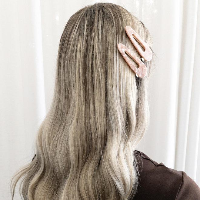 Ensemble de 2 pinces à cheveux plate - Triangulaire  rose nacré