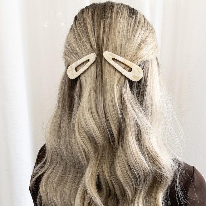 Ensemble de 2 pinces à cheveux plate - Triangulaire  crème nacré