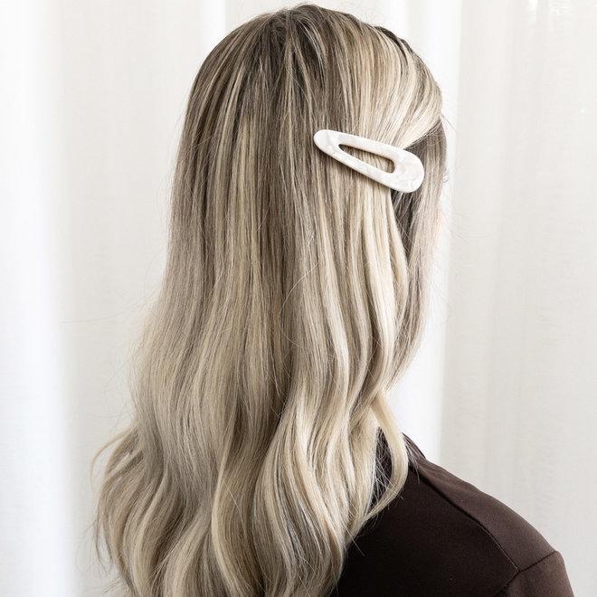 Pince a cheveux plate - Ensemble de 2 - Triangle - Blanc nacré