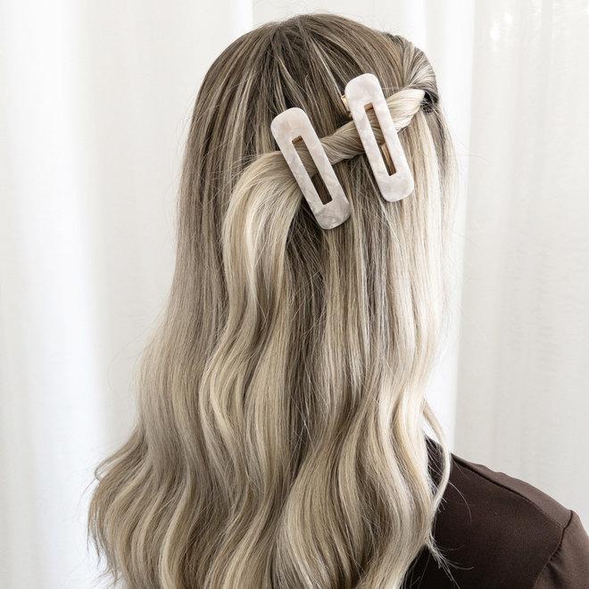 Ensemble de 2 pinces à cheveux plate - Rectangulaire  blanc nacré