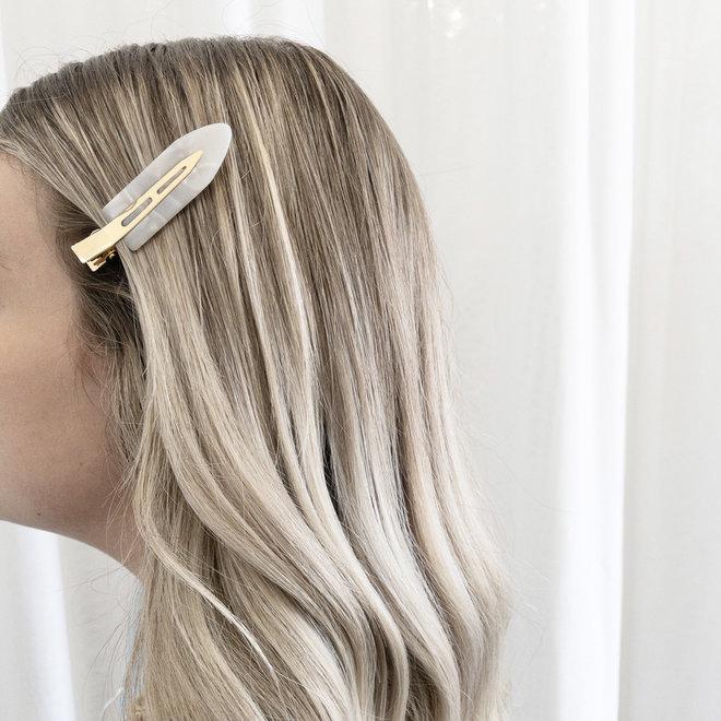 Ensemble de 2 pinces à cheveux plate - Les palettes blanches nacré