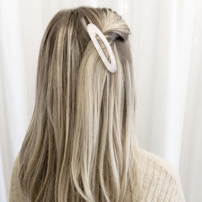 Ensemble de 2 barrettes à cheveux ovale - Blanc nacré