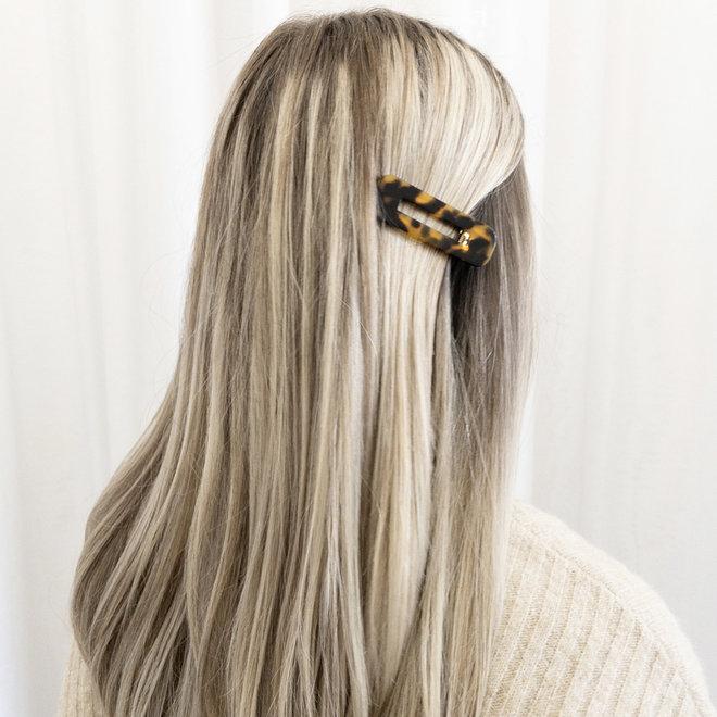 Ensemble de 2 pinces à cheveux plate - Rectangulaire léopard