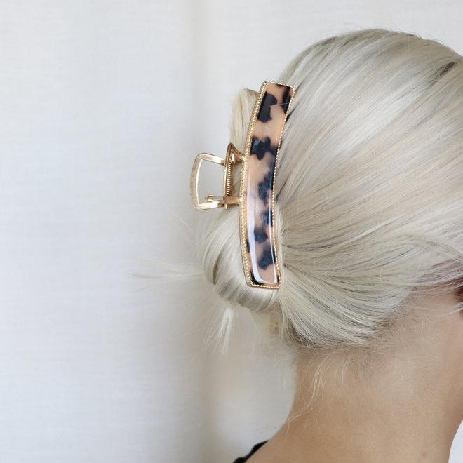 Pince à cheveux  en métal doré avec finition - Tortoise