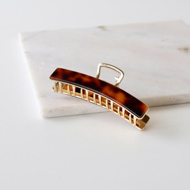 Pince à cheveux  en métal doré avec finition - Léopard