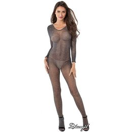 Dreamgirl Metallic Knitted Fishnet Bodystocking OS