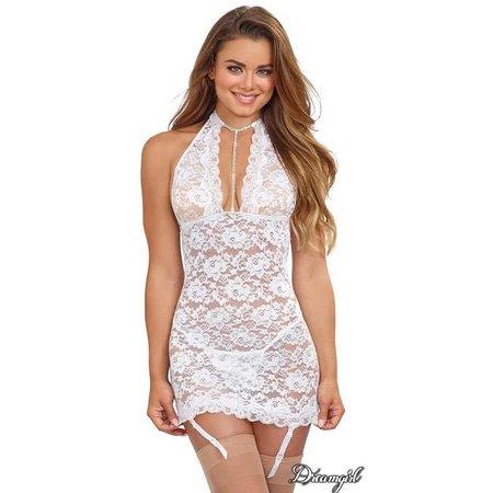 Dreamgirl Dreamgirl Stretch Lace Garter Slip White OS