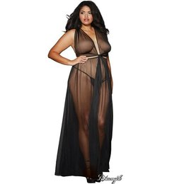 Dreamgirl Sheer Mesh Grecian-Style Gown OSX