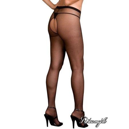 Dreamgirl Dreamgirl Sheer Open Crotch Pantyhose OSX