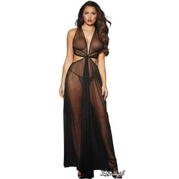 Dreamgirl Sheer Mesh Grecian-Style Gown OS