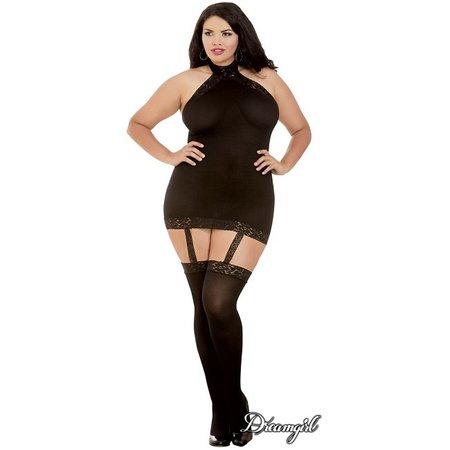 Dreamgirl Dreamgirl Moscow Sheer Halter Garter Dress OSX