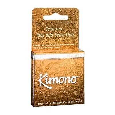 Kimono MicroThin Ribbed + Sensi-Dots Condom 3 Pack