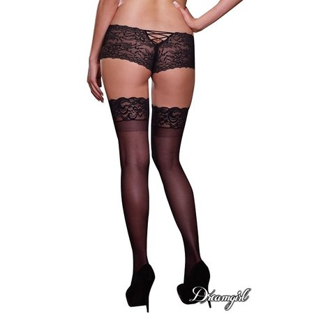 "Dreamgirl Dreamgirl ""Tuscany"" Sheer Thigh Hi with Lace Top & Stay Ups OSX DG0005X"