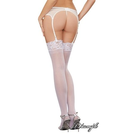 "Dreamgirl Dreamgirl ""Ambrose"" Sheer Thigh High with Lace Top OS"