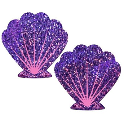 Mermaid Glitter Seashell Pasties Purple/Pink