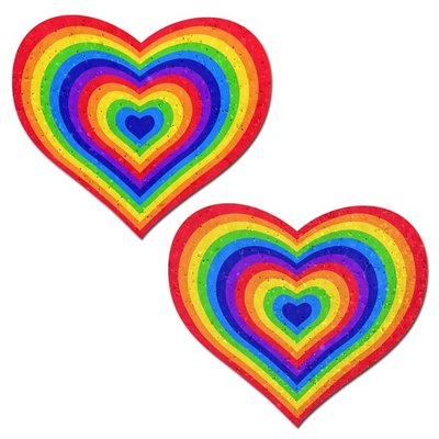 Pastease Sparkling Velvet Rainbow Heart Pasties