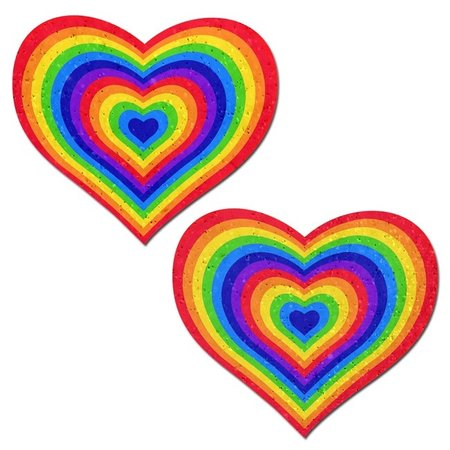 Pastease Pastease Sparkling Velvet Rainbow Heart Pasties