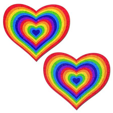 Pastease Sparkling Velvet Rainbow Heart Pasties