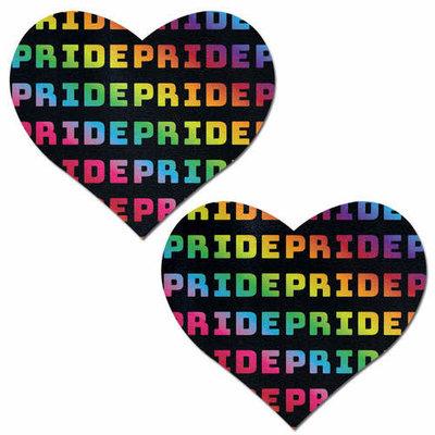 Pastease Rainbow 'PRIDE' Pattern on Black Heart Pasties