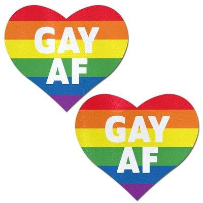 Pastease Pastease Rainbow 'GAY AF' on Glitter Velvet Heart Pasties