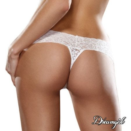 """Dreamgirl Dreamgirl """"Bare Sexy"""" Lace Thong OS"""