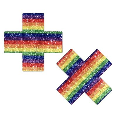 Sparkling Rainbow Cross Nipple Pasties
