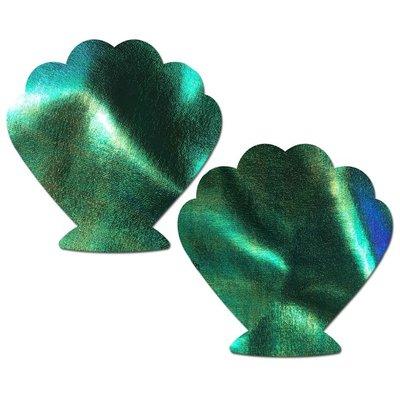 Pastease Mermaid Seashell Holographic Aqua Violet Pasties