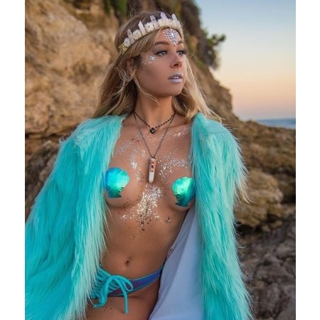 Pastease Mermaid Seashell Holographic Aqua Violet Pasties