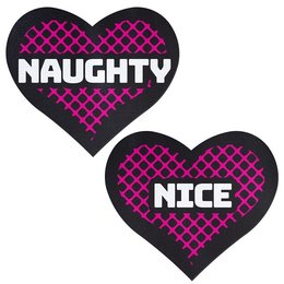 Pastease Black and Pink Naughty and Nice Heart Nipple Pasties