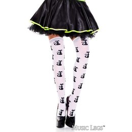 Music Legs Cat Pattern Thigh Hi OS