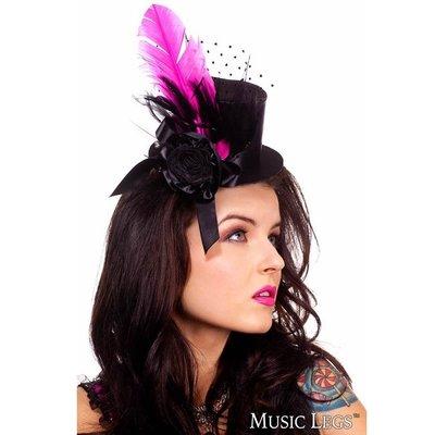 Music Legs Burlesque Hat Black/Hot Pink OS