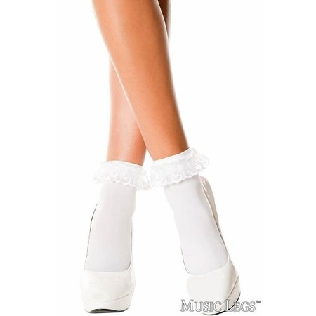 Music Legs Music Legs Lace Ruffle Opaque Anklet OS