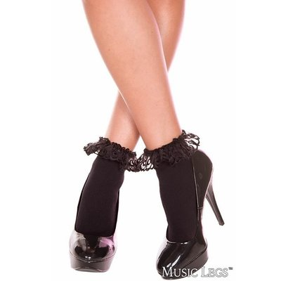 Music Legs Lace Ruffle Opaque Anklet OS