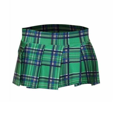 Music Legs School Girl Flashy Plaid Pleated Skirt