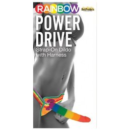 Rainbow Power Drive Strap-On Dildo with Harness