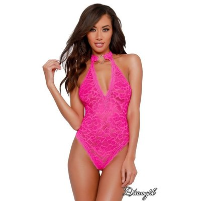 Dreamgirl Hot Pink Lace Collar Teddy OS