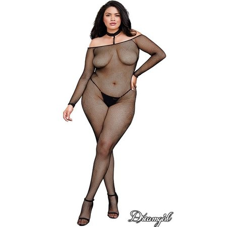 Dreamgirl Dreamgirl Fishnet Body Stocking with Collar OSX