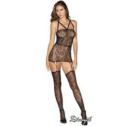 Dreamgirl Fishnet Lace Garter Dress OS