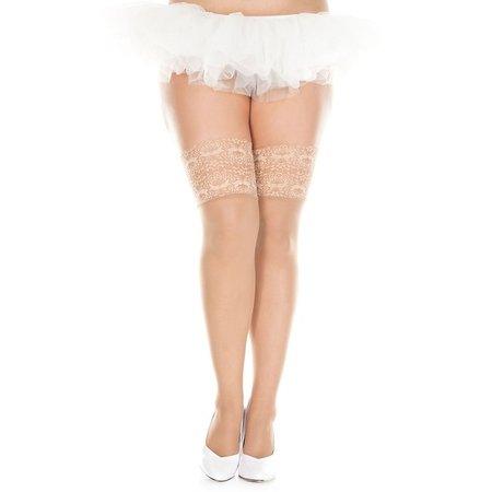 Music Legs Music Legs Wide Lace Top Sheer Thigh High Queen OS