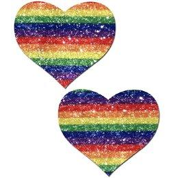 Pastease Glittering Striped Rainbow Heart Pasties