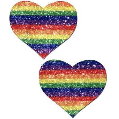 Pastease Glittering Striped Rainbow Heart Pasties