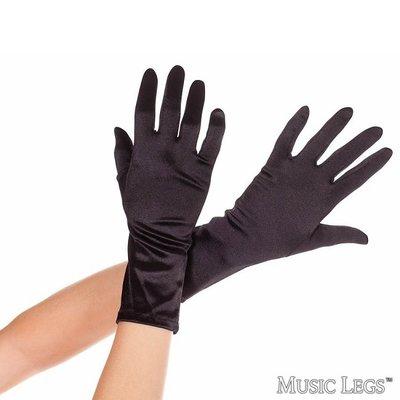 Music Legs Wrist Length Satin Gloves