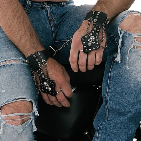 Shots Toys Ouch! Skulls & Bones Chained Finger & Wrist Cuffs