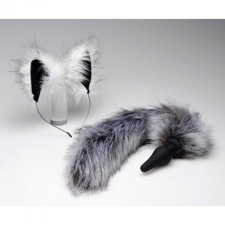 Tailz Tailz Grey Wolf Tail Plug and Ears