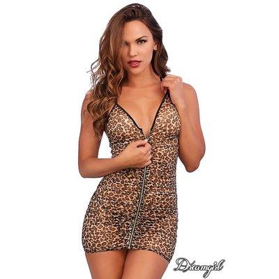 Dreamgirl Leopard Mesh Zipper Chemise OS
